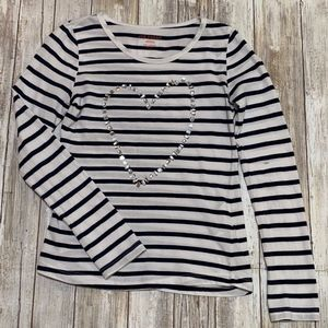 Joe Fresh Girls Stripe Long Sleeve w Heart